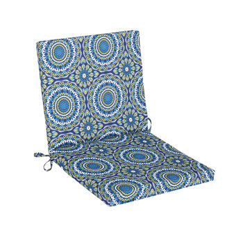Blue Medallion Indoor/Outdoor Mid-Back Chair Pad view 1