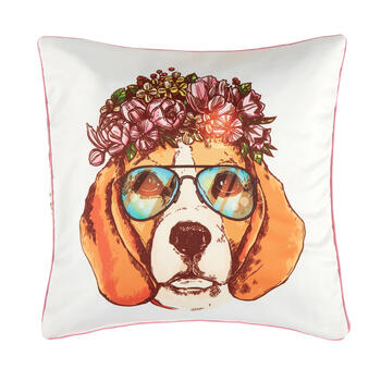 Spring Dog Feather-Fill Square Throw Pillow view 1