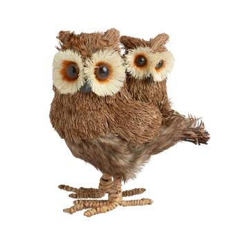 "7"" Owl with Baby Standing Decor"