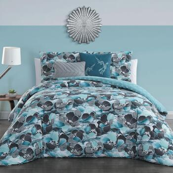 Simone Black/Blue Floral Reversible Bedding Set, 5-Piece