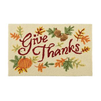 "18""x30"" ""Give Thanks"" Pumpkin and Leaves Hooked Rectangular Area Rug"