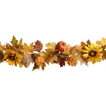 6' Sunflower and Pumpkin Artificial Leaf Garland