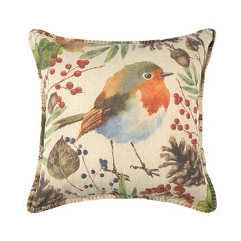 Woodland Songbird Embellished Square Throw Pillow