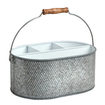Galvanized Metal Sectioned Caddy with White Interior view 1