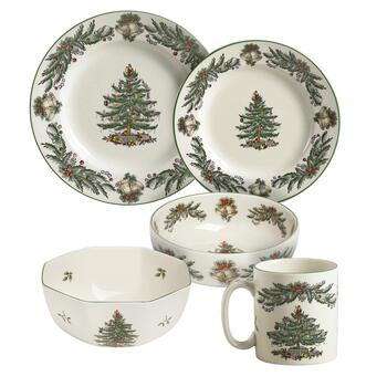 Famous Maker Christmas Tree and Garlands Ceramic Dinnerware Collection