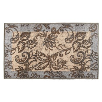 "26""x45"" Beige/Light Gray Leaves Accent Rug"