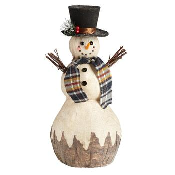 "23"" Plaid Scarf and Hat Snowman Decor"