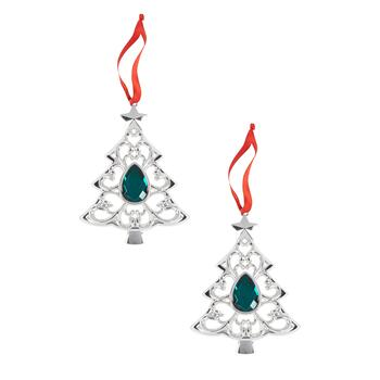 Famous Maker Green Crystal Tree Ornaments, Set of 2