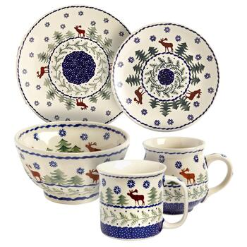 Polish Pottery Deer Pine Dinnerware