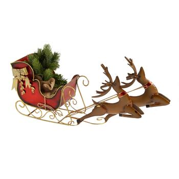 "27"" Metal Reindeer Sled Decor"
