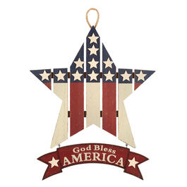 "18.5"" ""God Bless America"" Wood Star Wall Decor view 1"