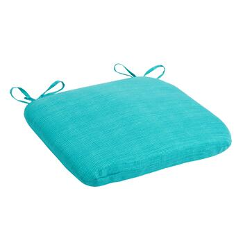 Solid Turquoise Indoor/Outdoor Squared Seat Pad