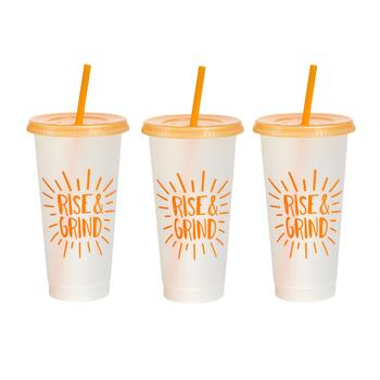 "7"" ""Rise & Grind"" Tumbler To-Go Cups, Set of 6"