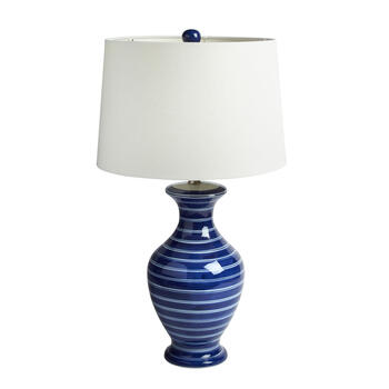 "29"" Blue/White Stripe Ceramic Vase Table Lamp view 1"
