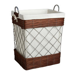 The Grainhouse™ Brown Lined Windowpane Wire Hamper view 1