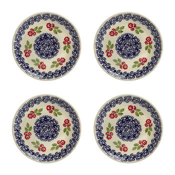 Polish Pottery Red Flowers Salad Plates, Set of 4 view 1
