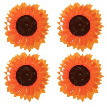 Orange/Brown Sunflower Dinner Plates, Set of 4