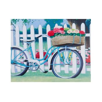 "22""x28"" Painted Bike Scene Canvas Wall Art"