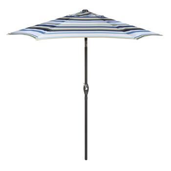 7.5' Green/Tan/Blue Striped Crank/Tilt Market Patio Umbrella