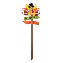 "36"" ""Football, Turkey & Pie"" Wooden Yard Stake"
