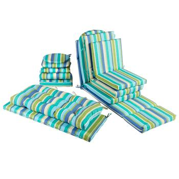 Green/Blue Striped Indoor/Outdoor Seat Pads Collection