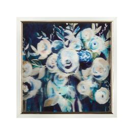 "13"" Blue/White Flowers Framed Square Wall Decor view 1"