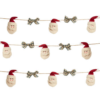 9' Plush Santa and Bows String Garlands, Set of 2