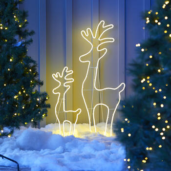Neon Lighted Standing Deer Yard Decor, Set of 2