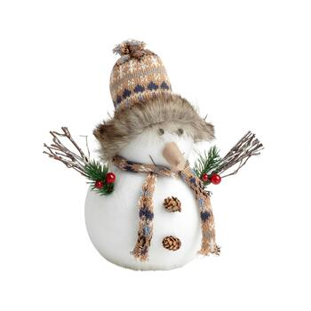 "8"" Light Brown Plaid Hat Winter Snowman Decor"
