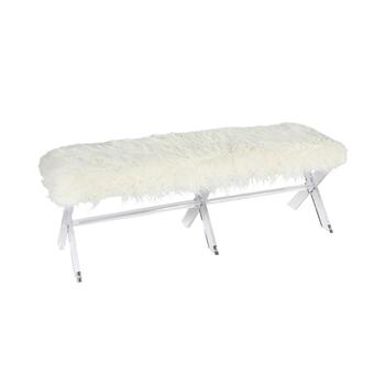 "55"" White Fur Acrylic Bench"