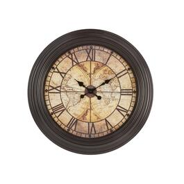 "23"" World Map Roman Numerals Round Wall Clock"