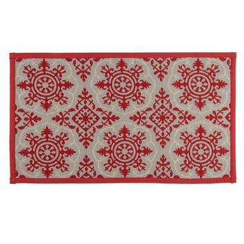 "21""x34"" Red/Cream Circles Accent Rug"