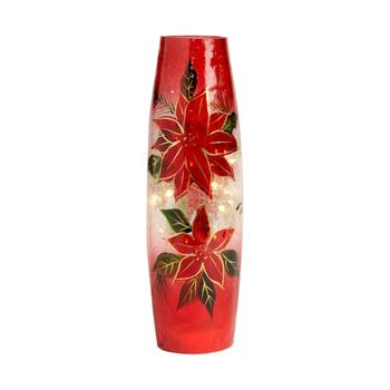 Red Poinsettia Crackle LED Bottle