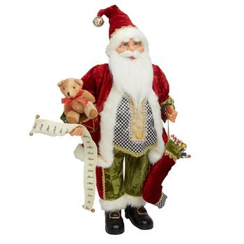 "24"" Santa with List and Stocking Figurine"