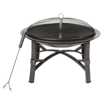 Black Metal Outdoor Fire Pit with Cover
