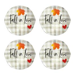 "Plaid ""Fall in Love"" Heavyweight Melamine Salad Plates, Set of 4"
