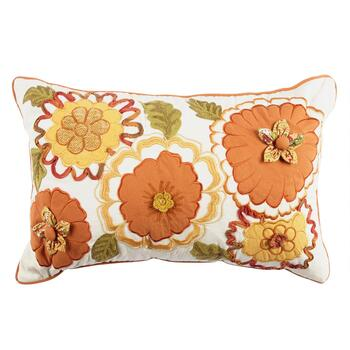 Floral Appliques Embroidered Oblong Throw Pillow