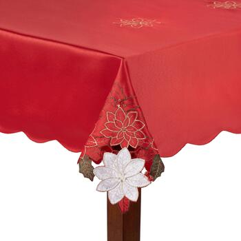 Red/White Poinsettia Cutwork Tablecloth