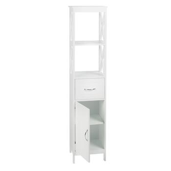 "59.25"" White 1-Drawer/1-Cabinet X-Sided Towel Tower"