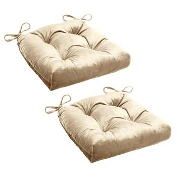 Solid Plush Waterfall Square Chair Cushions, Set of 2