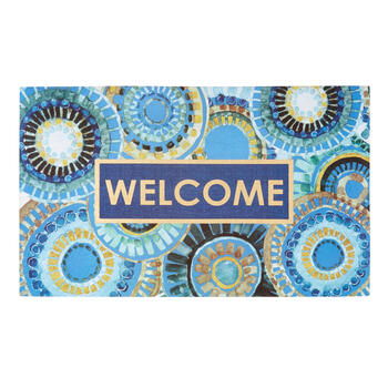 """Welcome"" Blue Medallions All-Weather Door Mat view 1"