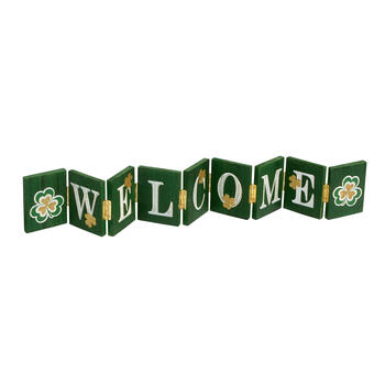 "29"" ""Welcome"" Clover Wood Hinged Sitter view 1"