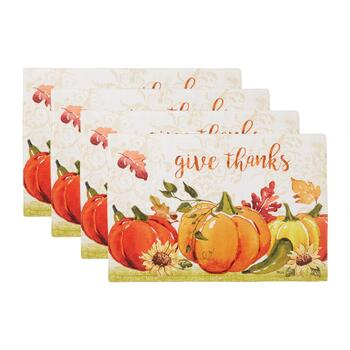 """Give Thanks"" Pumpkin Patch Fabric Placemats, Set of 4"