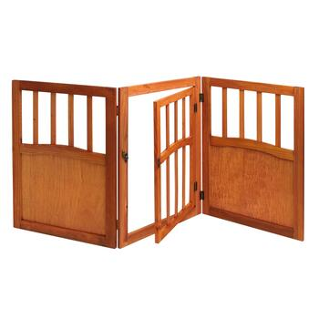 Solid Wood Folding Scroll Pet Gate with Door