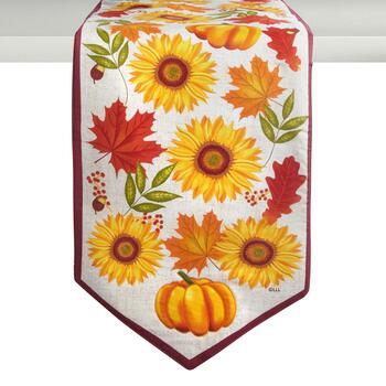 Sunflowers and Leaves Cotton Table Runner