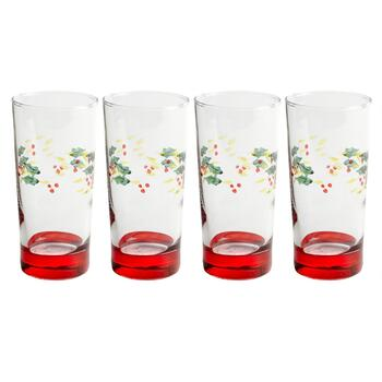 Holly Berry Red Base Cooler Glasses, Set of 4