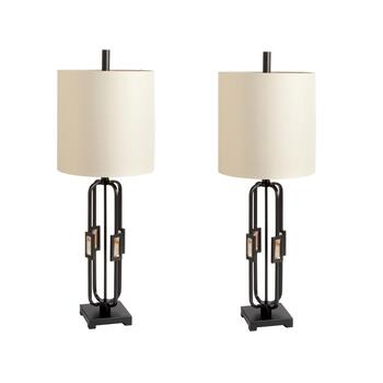 "35"" Contemporary Cage Metal Table Lamps, Set of 2"