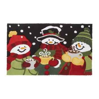 Winter Snowmen with Cocoa Hand-Hooked Door Mat