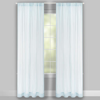 "84"" Crinkled Chiffon Rod Pocket Window Curtains, Set of 2 view 2"