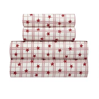 Red Stars Plaid Bed Sheet Set